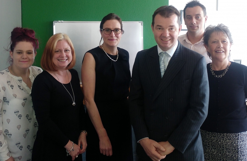 Rebecca Harris MP, Guy Opperman MP, staff at Clean Green Cleaning and Denise Rossiter, Chief Executive of Essex Chambers of Commerce.