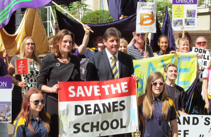 Rebecca at a Save The Deanes School rally